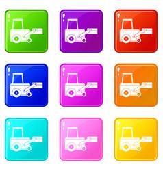 truck to lift cargo set 9 vector image