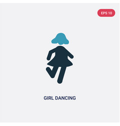 two color girl dancing icon from people concept vector image