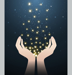 Two hands and stars in starry night vector