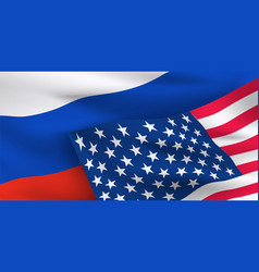 usa russian federation flags vector image