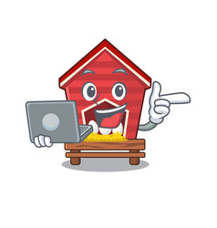 With laptop chicken coop isolated in mascot vector