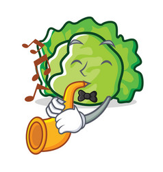 With trumpet lettuce character cartoon style vector