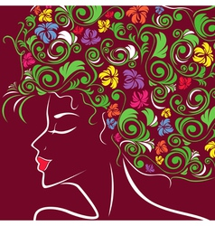 Women head profile with floral hair vector image vector image