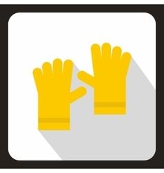 Yellow garden gloves icon flat style vector