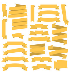 Yellow ribbons set vector