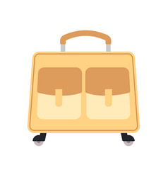 yellow wheeled travel bag with luggage vector image