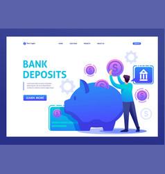 Young man puts money in a bank deposit flat 2d vector