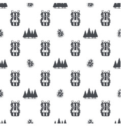 camping pattern with backpack trees and pine cone vector image vector image