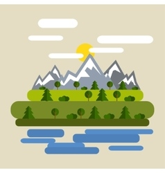 forest mountain flat design Natural vector image