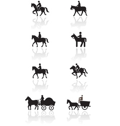 horse or pony symbol set vector image vector image