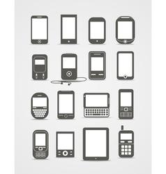 Modern and vintage mobile gadgets vector image