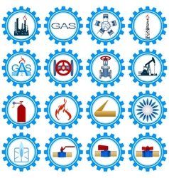 Set icons gas production industry vector