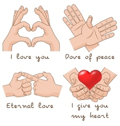 Set of hands depict the enternal love and peace vector image vector image