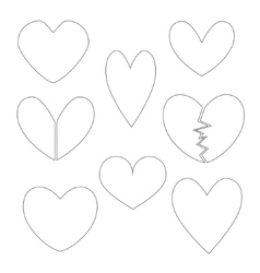 Set with Heart Contours vector image vector image