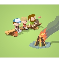Low poly rough wooden bench and the campfire vector image vector image