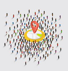 people stand around the location vector image