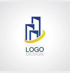 building town business logo vector image vector image