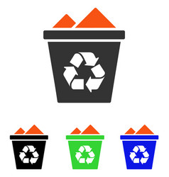 full recycle bin flat icon vector image