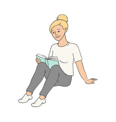 sketch adult woman girl reading book vector image
