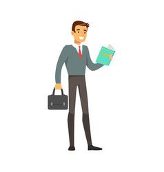 smiling businessman standing and reading a book vector image vector image