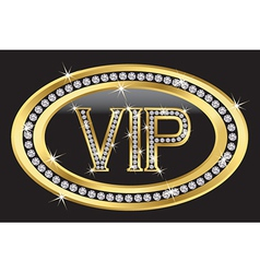 Vip gold label with diamonds vector image vector image