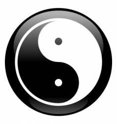 yin-yang black icon vector image vector image