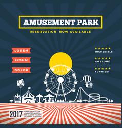 amusement park theme background vector image