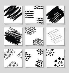 black ink brushes grunge square patterns hand vector image