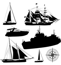 Boat Silhouette Set vector image