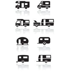 caravan camper van symbol set vector image vector image