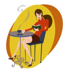 coffee and girl vector image vector image