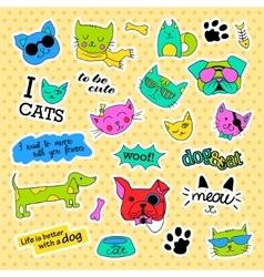 Fashion patch badges Pop art Cat and dog set vector image