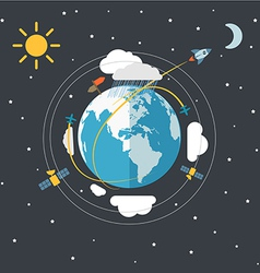 Flat design of the Earth in space vector image