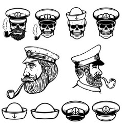 sea captain skulls in sailor hats vector image