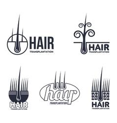 Set of hair transplantation logo templates vector
