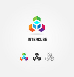 Abstract colorful box cube logo sign symbol icon vector