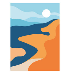 Aesthetic poster with landscape vector