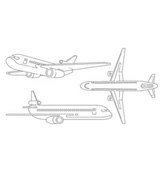 aircraft lineart black and white set vector image