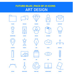 art and design icons - futuro blue 25 icon pack vector image
