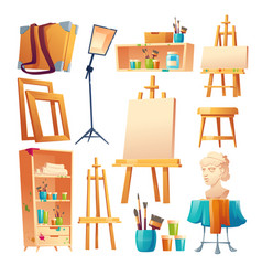 Artist studio art classroom stuff cartoon set vector