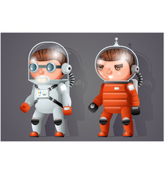 astronaut cosmonaut spaceman space sci-fi icons vector image