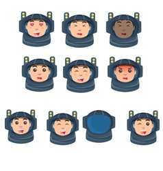 astronaut set of emotions in a flat style vector image