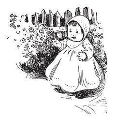 baby standing in a garden vintage engraving vector image