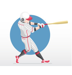 Baseball player in red team shirt in full swing vector