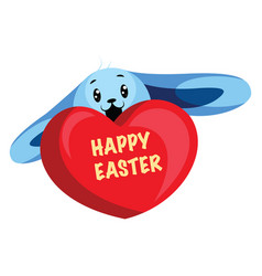 blue easter bunny wishing happy easter web on a vector image