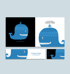 Blue whale business cards design vector