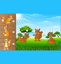 Cartoon funny fox collection find correct sha vector