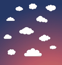 Cartoon retro night sky with clouds background vector