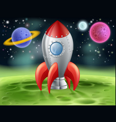 cartoon space rocket on alien planet vector image