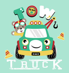 cartoon tow truck with bear funny driver vector image